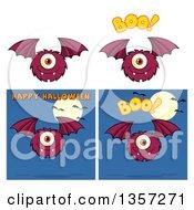 Clipart Of Cartoon Bat Monsters Royalty Free Vector Illustration