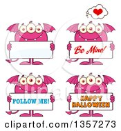 Clipart Of Cartoon Pink Monsters Holding Signs Royalty Free Vector Illustration
