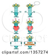 Cartoon Turquoise Monsters Holding Hearts And Signs
