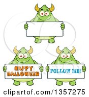 Cartoon Green Monsters Holding Signs