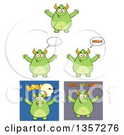 Clipart Of Cartoon Green Monsters Royalty Free Vector Illustration