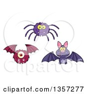 Clipart Of A Cartoon Spider Vampire Bat And Monster Royalty Free Vector Illustration