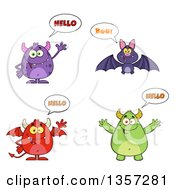 Clipart Of Talking Monsters And A Bat Royalty Free Vector Illustration
