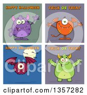 Clipart Of Cartoon Monsters With Halloween Greetings Royalty Free Vector Illustration