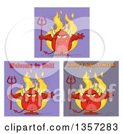 Cartoon Red Devils On Halftone Backgrounds