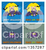 Clipart Of Cartoon Bats And Spiders With Webs And Halloween Greetings Royalty Free Vector Illustration