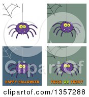 Clipart Of Cartoon Spiders With Webs And Halloween Greetings Royalty Free Vector Illustration by Hit Toon