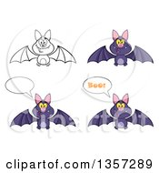 Clipart Of Cartoon Purple And Lineart Vampire Bats Royalty Free Vector Illustration