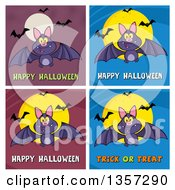 Clipart Of Flying Bats With Halloween Greetings Royalty Free Vector Illustration