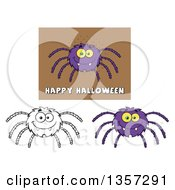 Clipart Of Cartoon Happy Spiders Royalty Free Vector Illustration by Hit Toon