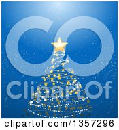 Clipart Of A Scribble Snow And Star Christmas Tree Over A Blue Glowing Background Royalty Free Vector Illustration