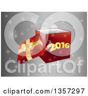 3d Red Gift Box With A Gold Bow And The Lid Off With New Year 2016 On The Front Over Gray With Flares
