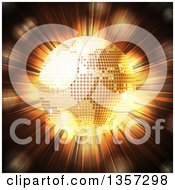 Clipart Of A 3d Golden Sparkly Disco Ball Earth Globe Over A Light Burst Royalty Free Vector Illustration