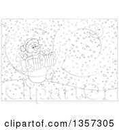 Clipart Of A Cartoon Black And White Christmas Snowman Carrying Gifts And Walking On A Snowy Night Royalty Free Vector Illustration