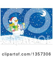 Clipart Of A Cartoon Christmas Snowman Carrying Gifts And Walking On A Snowy Night Royalty Free Vector Illustration