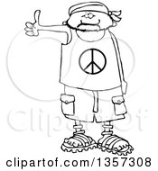 Clipart Of A Cartoon Black And White Male Hitchhiker Wearing A Bandana Peace Shirt Shorts And Sandals Royalty Free Lineart Vector Illustration