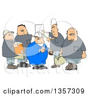 Clipart Of A Cartoon Group Of Caucasian Male Construction Workers With A Cooler Donuts Document And Bag Royalty Free Illustration