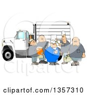 Cartoon Group Of Caucasian Male Construction Workers With A Cooler Donuts Document And Bag By A Truck