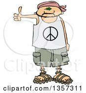 Clipart Of A Cartoon Caucasian Male Hitchhiker Wearing A Bandana Peace Shirt Shorts And Sandals Royalty Free Vector Illustration
