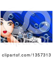 Clipart Of A Woman With Long Blue Hair With Bubbles Over Bricks Royalty Free Illustration by Prawny