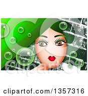Clipart Of A Brown Eyed Woman With Long Green Hair With Bubbles Over Bricks Royalty Free Illustration by Prawny