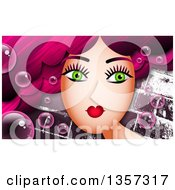 Clipart Of A Green Eyed Woman With Long Pink Hair And Bubbles Over Bricks Royalty Free Illustration