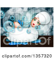 Clipart Of A Green Eyed Woman Relaxing In A Bath Tub Royalty Free Illustration
