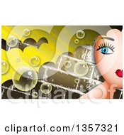 Clipart Of A Partial Womans Face With Blond Hair Over Bricks With Bubbles Royalty Free Illustration by Prawny
