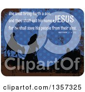 Grungy Christmas Design Of Silhouetted Mary And Joseph And Scripture