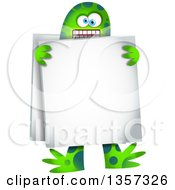 Clipart Of A Green Monster Wearing A Sandwich Board Sign Royalty Free Vector Illustration