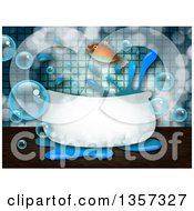 Clipart Of A Fish Leaping Out Of A Bath Tub With Bubbles And Splashes Royalty Free Illustration by Prawny