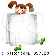 Clipart Of A Happy Brunette Caucasian Girl Wearing A Sandwich Board Sign Royalty Free Vector Illustration