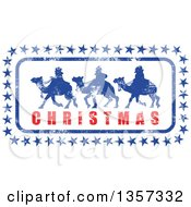 Clipart Of A Grungy Design Of Silhouetted Wise Men With Stars And Christmas Text Royalty Free Vector Illustration