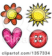 Doodled Polka Dot Flower Sun Heart And Button With Stitches