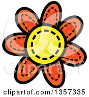 Clipart Of A Doodled Polka Dot Flower With Stitches Royalty Free Vector Illustration