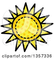 Clipart Of A Doodled Polka Dot Sun With Stitches Royalty Free Vector Illustration by Prawny