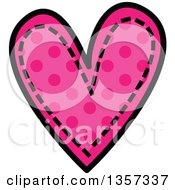 Doodled Pink Polka Dot Heart With Stitches