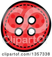 Clipart Of A Doodled Red Polka Dot Button With Stitches Royalty Free Vector Illustration