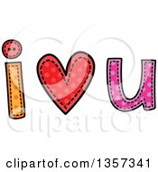 Clipart Of A Doodled I Heart U Design With Stitches Royalty Free Vector Illustration