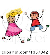 Clipart Of A Doodled Blond White Girl And Brunette Boy Jumping And Cheering With Stitches Royalty Free Vector Illustration