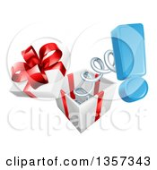 Clipart Of A 3d Blue Exclamation Point Popping Out Of A Gift Box Royalty Free Vector Illustration