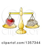 Clipart Of A Red Heart And Brain On Golden Scales Following Logic Or Passions Royalty Free Vector Illustration