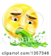 Clipart Of A 3d Yellow Smiley Emoji Emoticon Face Throwing Up Green Puke Royalty Free Vector Illustration