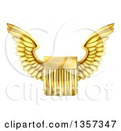 Clipart Of A Shiny Winged Gold Metal United States Flag Shield Royalty Free Vector Illustration