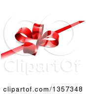 Clipart Of A 3d Red Christmas Birthday Or Other Holiday Gift Bow And Ribbon On White Royalty Free Vector Illustration