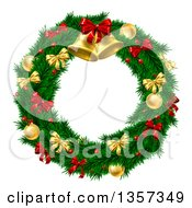 Clipart Of A 3d Christmas Wreath Of Branches Holly Berries Gold And Red Baubles Bows And Bells Royalty Free Vector Illustration