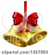 Clipart Of 3d Gold Christmas Bells With A Red Ribbon And Bow Royalty Free Vector Illustration