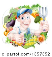 Clipart Of A Middle Aged Brunette White Male Gardener In Blue Holding Up A Garden Fork And Giving A Thumb Up In A Wreath Of Produce Royalty Free Vector Illustration by AtStockIllustration