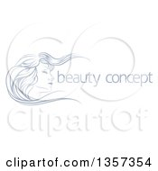 Clipart Of A Beatiful Womans Face In Profile With Long Hair Waving In The Wind With Sample Text Royalty Free Vector Illustration by AtStockIllustration
