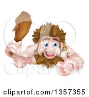 Cartoon Muscular Happy Caveman Giving A Thumb Up And Holding A Club Over A Sign